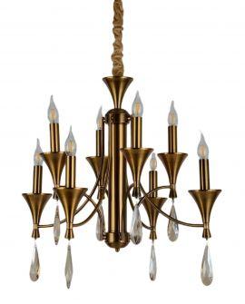 KLASYCZNA LAMPA WISZĄCA MOSIĘŻNA LIBERO W8 LUMINA DECO