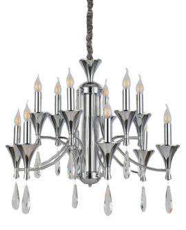 KLASYCZNA LAMPA WISZĄCA CHROMOWANA LIBERO W12 LUMINA DECO