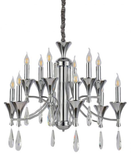 KLASYCZNA LAMPA WISZĄCA CHROMOWANA LIBERO W12