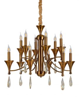 KLASYCZNA LAMPA WISZĄCA MOSIĘŻNA LIBERO W12 LUMINA DECO