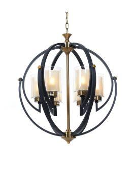 LAMPA WISZĄCA LOFT CZARNO-MOSIĘŻNA BERGEN W6 LUMINA DECO