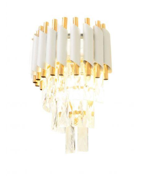 LAMPA ŚCIENNA KINKIET Z KRYSZTAŁAMI BIAŁO-ZŁOTY MAZINI W2 LUMINA DECO